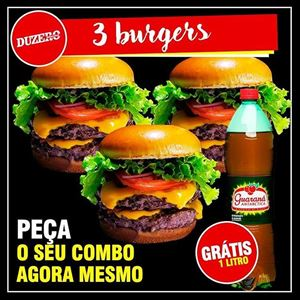 COMBO 3 BURGER + GUARANA ANTARCTICA 1 L