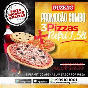 COMBO (3 PIZZA GIGANTE 8 FATIAS  + 1  REFRIGERANTE  1,5 L