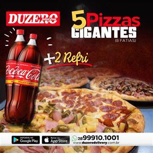 COMBO (5 PIZZA GIGANTE 8 FATIAS  + 2  REFRIGERANTE  1,5 L