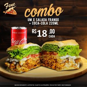Promoção X-Salada Frango + Coca-Cola 259ml