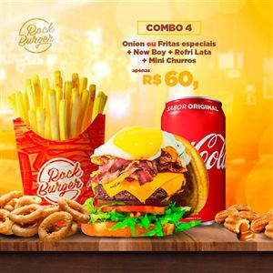 COMBO 4 ONION OU FRITAS ESP.+NEW BOY + REFRI LATA + MINI CHURROS