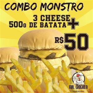 COMBO MONSTRO 3 CHEESEBURGER + BATATA FRITA 500G