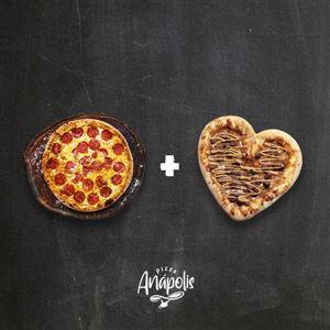 1 PIZZA GIGANTE 35 CM (LINHA BRONZE E PRATA) + 1 MINI LOVE DOCE C/ BORDA RECHEADA 20 CM
