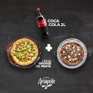 1 PIZZA GIGANTE + 1 PIZZA 4 FATIAS DOCE COM BORDA + REFRIGERANTE 2 LITROS