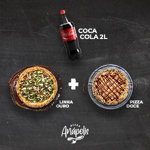 1 PIZZA GIGANTE LINHA OURO + 1 PIZZA DOCE GRANDE COM BORDA + REFRIGERANTE 2 LITROS