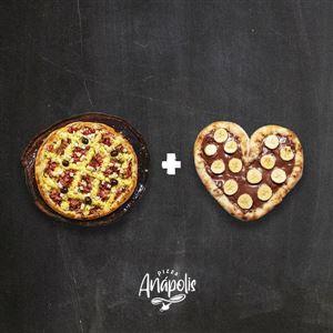 1 PIZZA GRANDE 30 CM (LINHA BRONZE E PRATA) + 1 MINI LOVE DOCE C/ BORDA RECHEADA 20 CM