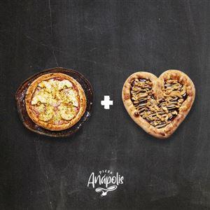 1 PIZZA INDIVIDUAL + 1 MINI LOVE DOCE COM BORDA