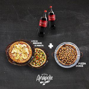 2 PIZZAS GIGANTES + 1 PIZZA DOCE GIGANTE COM BORDA + 2 REFRIGERANTES 2 LITROS
