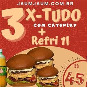 3 X TUDO COM CATUPIRY  + GUARANÁ 1L *Promoção*