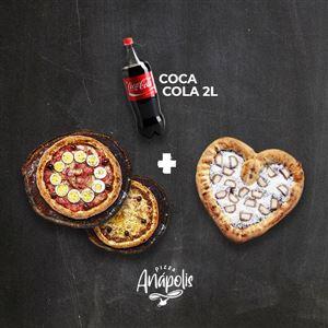 2 PIZZA GRANDE + 1 MINI LOVE DOCE COM BORDA + REFRIGERATE 2 LITROS