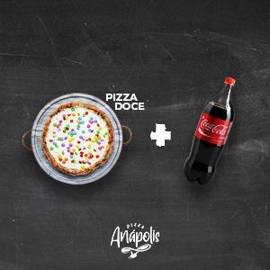 1 PIZZA DOCE GRANDE C/ BORDA 30 CM + 1 REFRIGERANTE 2 LITROS