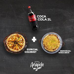 1 PIZZA GIGANTE 35 CM (LINHA GOURMET) + 1 PIZZA DOCE INDIVIDUAL C/ BORDA 25 CM + 1 REFRIGERANTE 2 LITROS